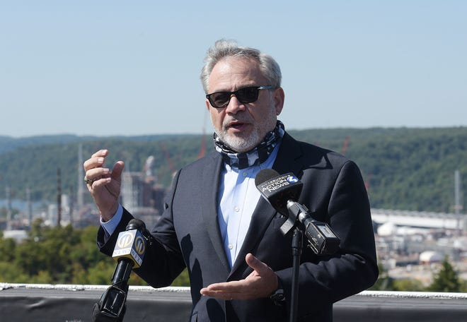 U.S. Secretary of Energy Dan Brouillette  speaks to the media from the roof the Hilton Garden Inn after touring the Shell Ethane Cracker Plant, Monday in Potter Township.[Sally Maxson/For BCT]