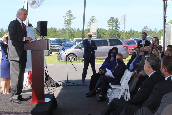 Gov. Henry McMaster speaks Monday at a news conference concerning the future Interstate 95 Exit 3 in Hardeeville.