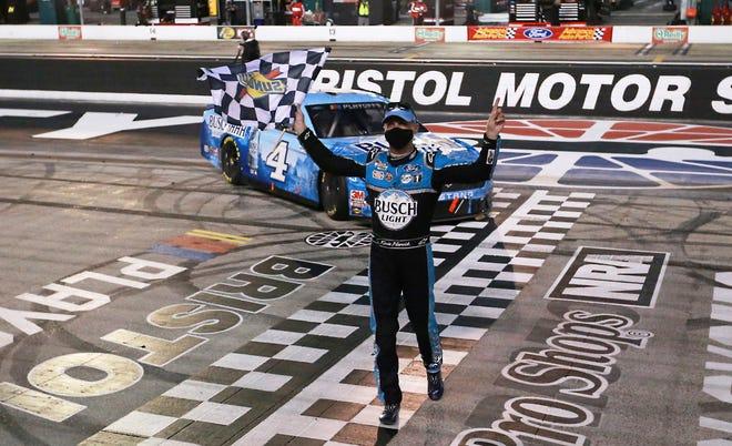 Kevin Harvick celebrates his ninth NASCAR Cup Series victory of the season at Bristol.