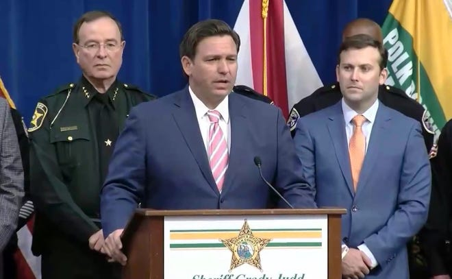 Gov. Ron DeSantis unveils a proposal last week to clamp down on protests.