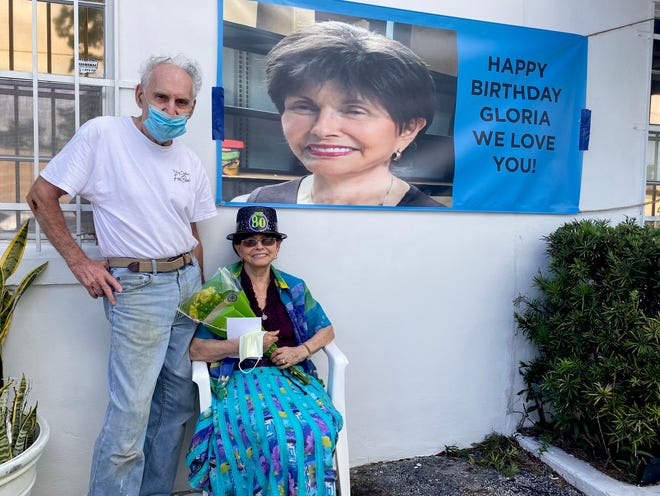 Raymond and Gloria Max were delighted to see several Ormond Beach police officers and community members drive past the local Jewish Federation office in honor of Gloria's 80th birthday.