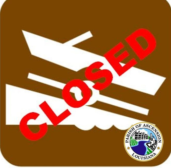 Ascension Parish waterways will be closed to recreational boat traffic until further notice.
