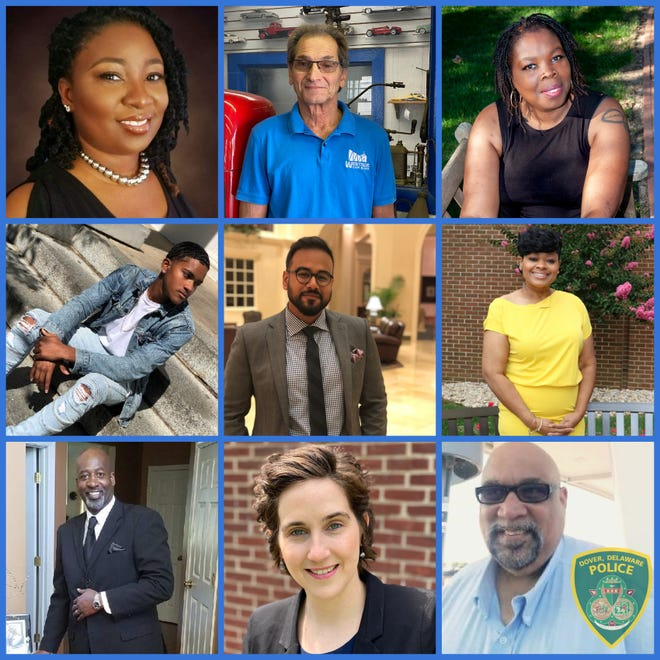 The Dover Police Chief's Advisory Committee. Top row, from left: Chanda Jackson-Short, Victor Ginagrant and Schatze Sykes. Second row, from left: Calvin London, Imam Arqum Rashid and the Rev. Carol E. Harris. Third row, from left: Matthew McNeil, Courtney Ford and Gregg Bunkley.