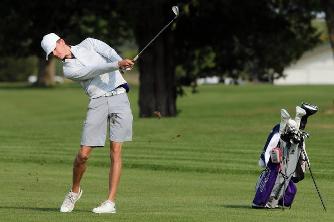Burlington High School golfer Nate Spear during the Grayhound's boys golf invitational Monday at the Flint Hills Municipal Golf Course.