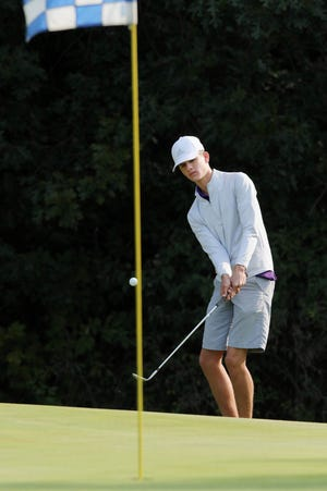Burlington High School golfer Nate Spear during the Grayhound's boys golf invitational, Monday Sept. 21, 2020 at the Flint Hills Municipal Golf Course.