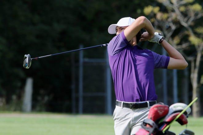 Burlington High School golfer Mateo Rascon during the Grayhound's boys golf invitational Monday at the Flint Hills Municipal Golf Course.