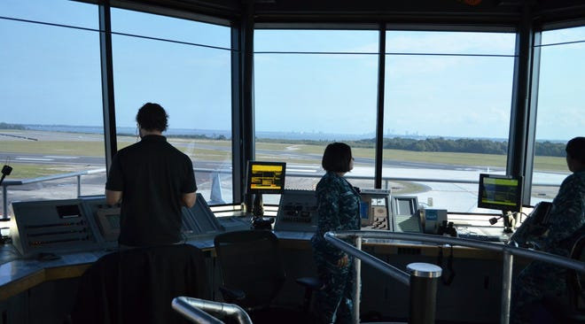 Air traffic controllers monitor flights at Naval Air Station Jacksonville in this 2016 photo.