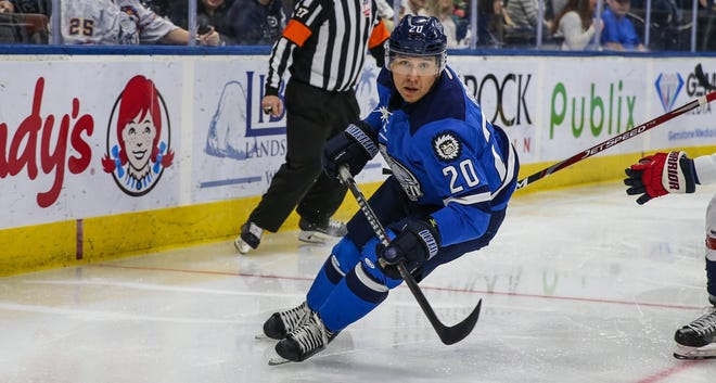 Icemen forward Wacey Rabbit skates behind the net in a January game against the South Carolina Stingrays. Rabbit is among several experienced players returning to the Jacksonville Icemen, who are awaiting the delayed start of the 2020-21 ECHL season.