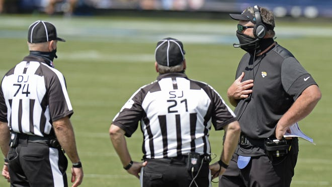 Jaguars coach Doug Marrone talks with officials in the first half of Sunday's game at Tennessee. The Jaguars have a short week before playing host to Miami on Thursday.