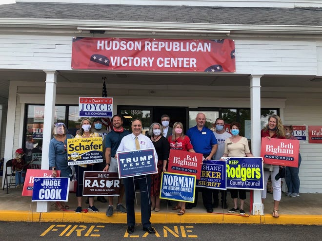 "Local Republican candidates and officials were on hand Sept. 9 for a ribbon cutting to open the ""Hudson Republican Victory Center."""