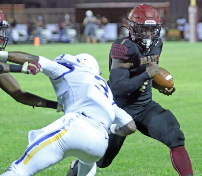 Lake Gibson running back Jaylon Glover rushed for 1,588 yards and 31 touchdowns to help lead the Braves to an 11-2 record. He became the school's all-time leading rusher as a junior.