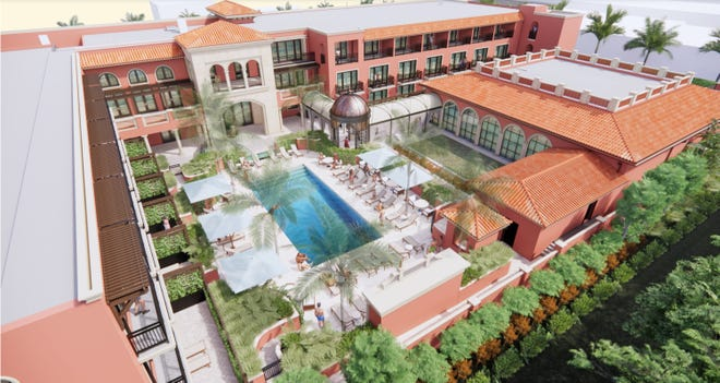 A rendering shows the pool area and courtyard planned for the Palm House at 160 Royal Palm Way in Palm Beach. The renovation plan was developed by the property's new owner and presented Friday to the Architectural Commission. [Rendering courtesy Town of Palm Beach]