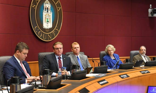 Sarasota County commissioners, from left, Christian Ziegler, Mike Moran Charles Hines, Nancy Detert and Alan Maio, during a commission meeting last year.
