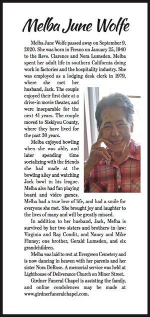 Obituary: Melba June Wolfe