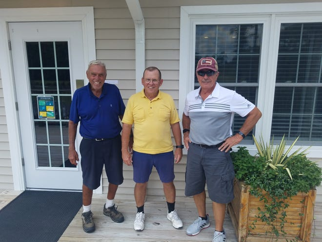 First place winners in the MGA Gross-Net Tournament team red tee flight were (left to right) Jack Polo, Ed White, Jim Furman, and Bob Stewart (not shown). [CONTRIBUTED PHOTO]