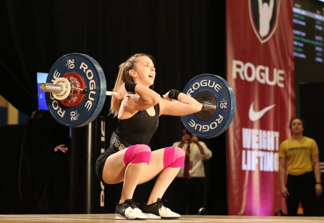 Amanda Myers competes in the clean and jerk event at National University & Under 25 Championships in Las Vegas, Nevada, in March 2019. Myers has been diagnoses with narcolepsy.