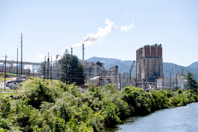 Evergreen Packaging, or the Canton Paper Mill, in Canton is seen from Blackwell Drive on Sept. 21, 2020. The mill has hearings before the state Department of Environmental Quality April 14 for the renewal of a temperature variance and removal of a color variance for wastewater discharged into the Pigeon River.