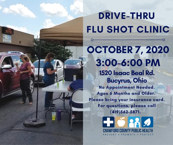Drive-through flu shots will be available 3 p.m. to 6 p.m. Oct. 7 at Crawford County Public Health.