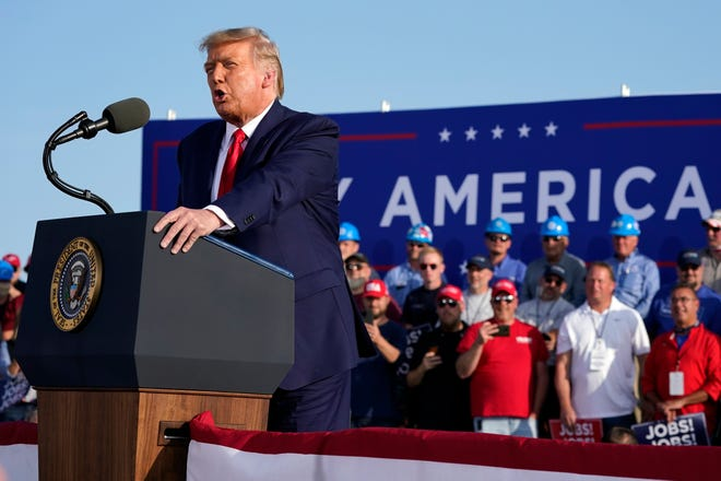 President Donald Trump speaks during a campaign rally at Dayton International Airport, Monday, Sept. 21, 2020, at Dayton, Ohio.