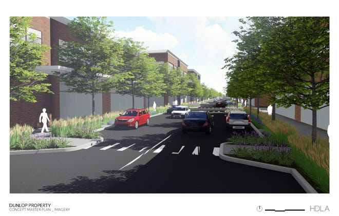 Artist rendering of a preliminary concept master plan for the Dunlop Lane proeprty where a hotel and conference center and office park are planned.