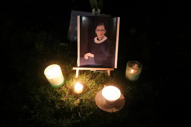 A portrait of the late Supreme Court Justice Ruth Bader Ginsburg in front of 47th District court in Farmington Hills on Saturday, Sept.19, 2020.