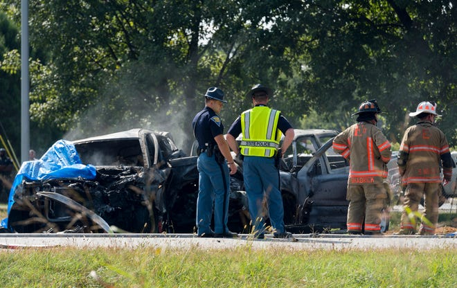 Multiple agencies respond to a crash on U.S. 41 in Evansville, Ind., Monday afternoon, Sept. 21, 2020.