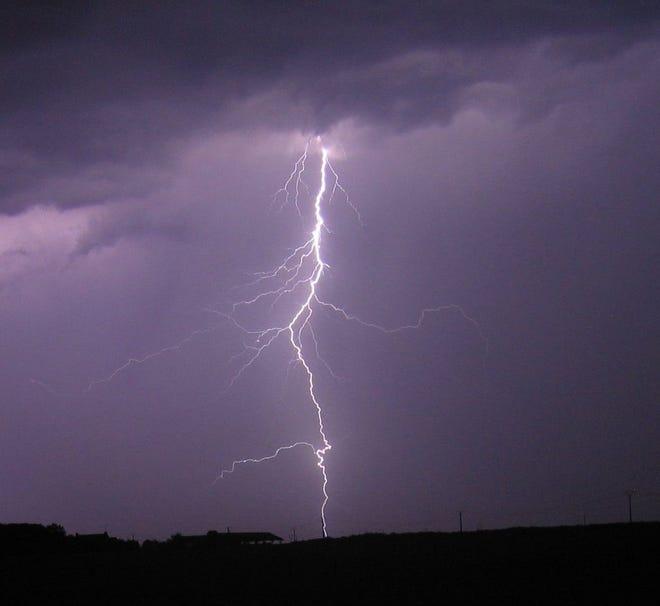 A cloud to ground lightning strike.