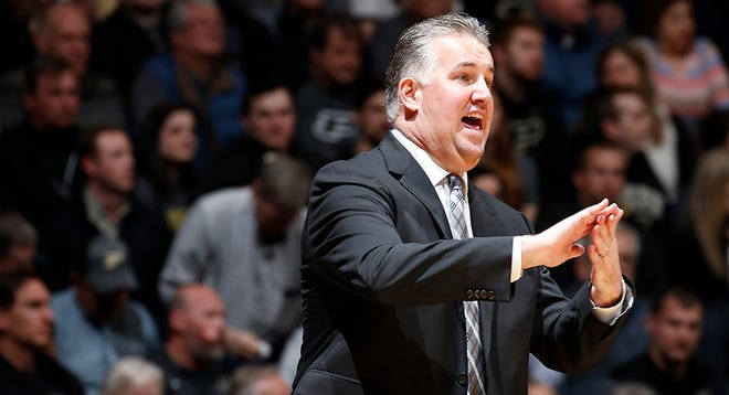Feb 11, 2020; West Lafayette, Indiana, USA;  Purdue Boilermakers coach Matt Painter reacts on the sidelines during the first half against the Penn State Nittany Lions at Mackey Arena.