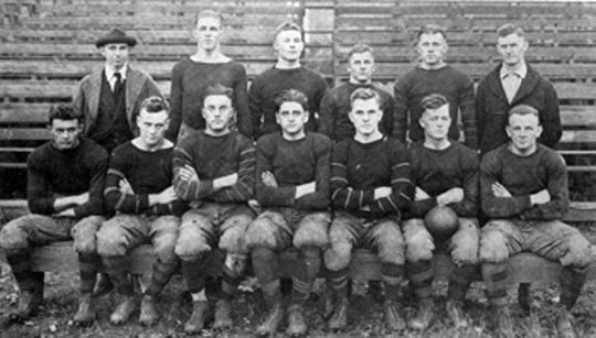 Members of the Vanderbilt's 1918 football team, although some are not pictured. The team included 13 players, one manager and coach Ray Morrison.