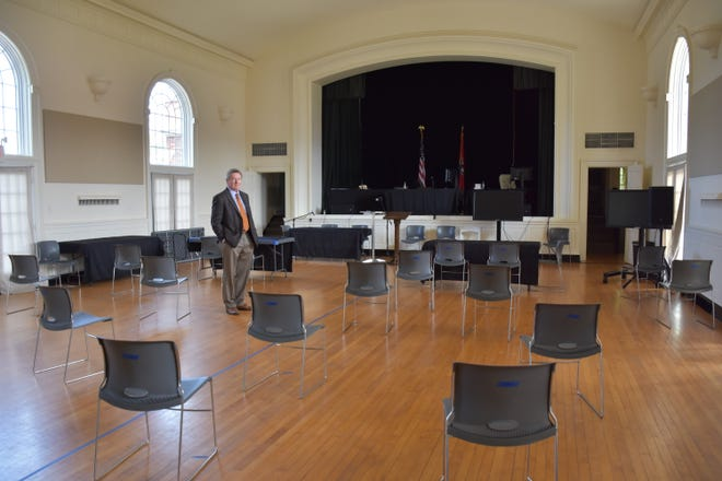 Dickson County Circuit Court Judge David Wolfe inside the War Memorial Building in Downtown Dickson where Circuit Court jury trials will take place to comply with COVID-19 distance requirements.