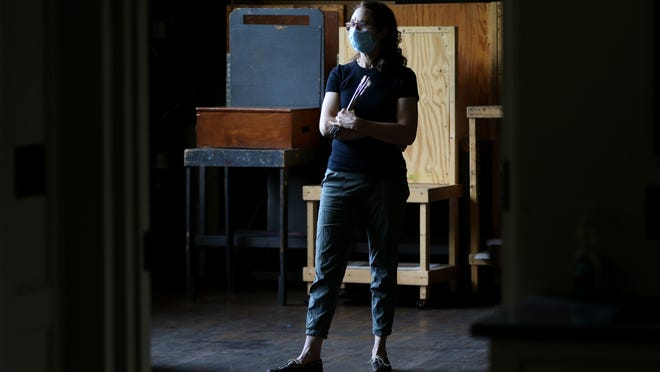 Rebecca Leer, of the Ridgewood Art Institute, poses in an empty studio.  Due to the COVID pandemic the classrooms and galleries have been empty. Tuesday, September 15, 2020