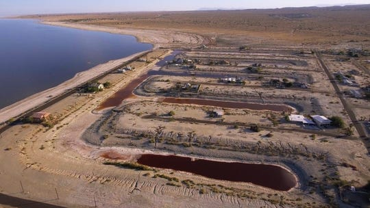 A screen grab from the film highlights the shrinking lake at Desert Shores.