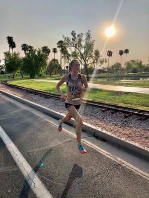 Sept. 19, 2020; Desert Vista girls cross-country runner Lauren Ping leads the way at the Western Equinox XC Festival in Gilbert, Ariz.