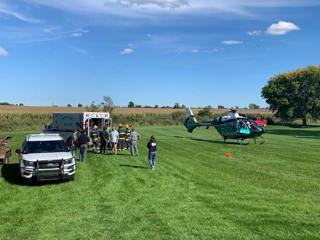 A 51-year-old Sandusky man was flown to Ascension St. Mary's Hospital in Saginaw after a tractor crash in Sanilac County on Sept. 19, 2020.