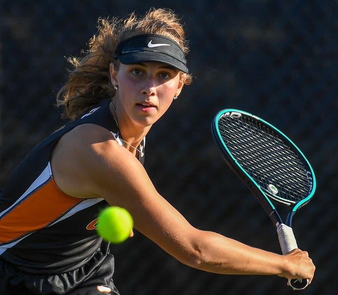 Rachel Haupt, seen here in a file photo, earned a singles win on Tuesday for Central York.