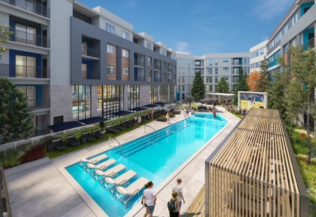 A rendering of the courtyard and swimming pool of the first building of the Reno Experience District, formerly known as Park Lane.