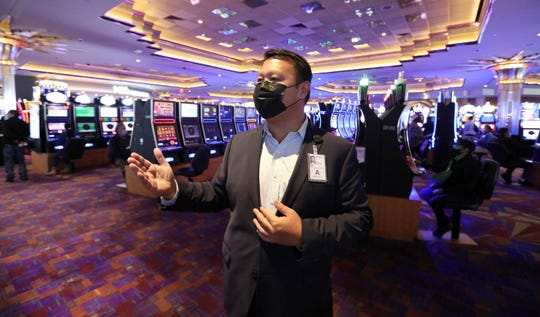 Ed Domingo, Empire City Casino SVP Operations and CFO on the gaming floor on the first day of the reopening of the casino Sept. 21, 2020.