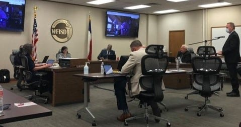 Wichita Falls ISD Chief Financial Officer Tim Sherrod speaks to the school board during Monday's meeting.