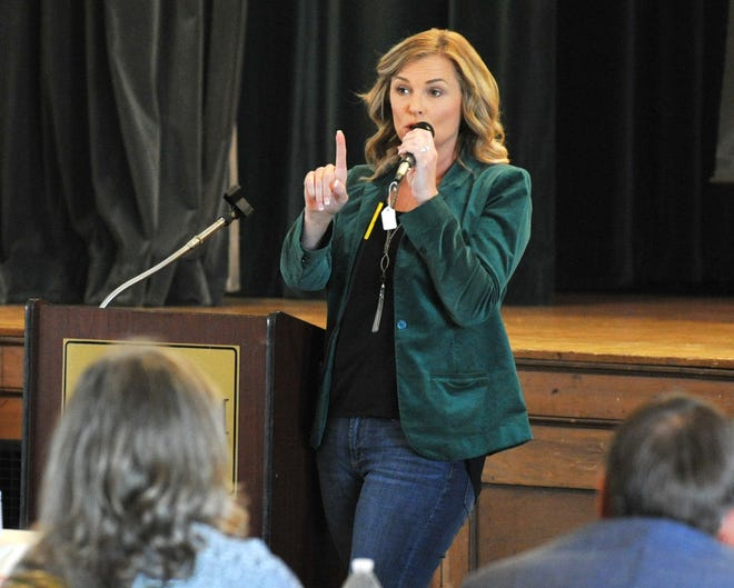 Senate District 30 Republican candidate Shelley Luther spoke to the Wichita County Republican Women during a luncheon held at the Forum Monday afternoon.