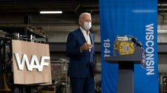 Democratic presidential candidate former Vice President Joe Biden speaks at Wisconsin Aluminum Foundry in Manitowoc, Wis., Monday, Sept. 21, 2020. (AP Photo/Carolyn Kaster) ORG XMIT: WICK123