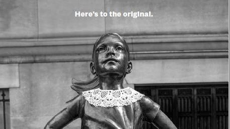 NYC's 'Fearless Girl' statue dons white, lace collar to honor Ruth Bader Ginsburg