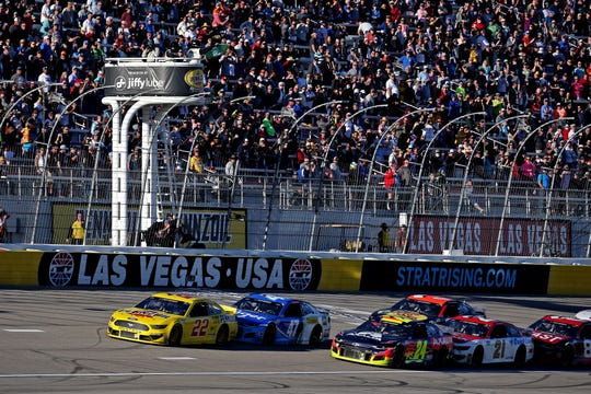 Joey Logano (22) leads a restart during the 2020 Pennzoil 400 presented by Jiffy Lube, Feb. 23 at Las Vegas Motor Speedway.