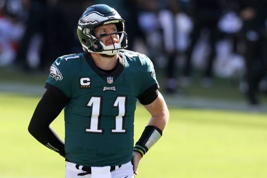 Quarterback Carson Wentz of the Philadelphia Eagles looks on against the Los Angeles Rams in the second half at Lincoln Financial Field on September 20, 2020 in Philadelphia, Pennsylvania.