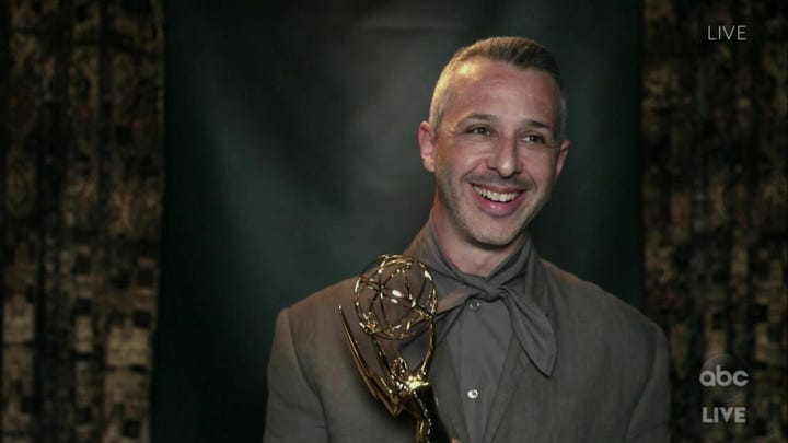 "Jeremy Strong accepts the award for lead actor in a drama series for his role in ""Succession"" in a video grab from the 72nd Emmy Awards telecast."