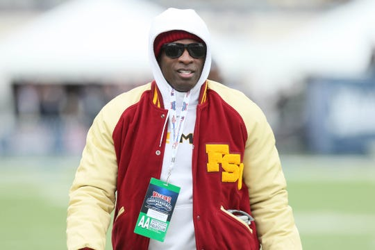 Deion Sanders in attendance at the 2017 Independence Bowl.