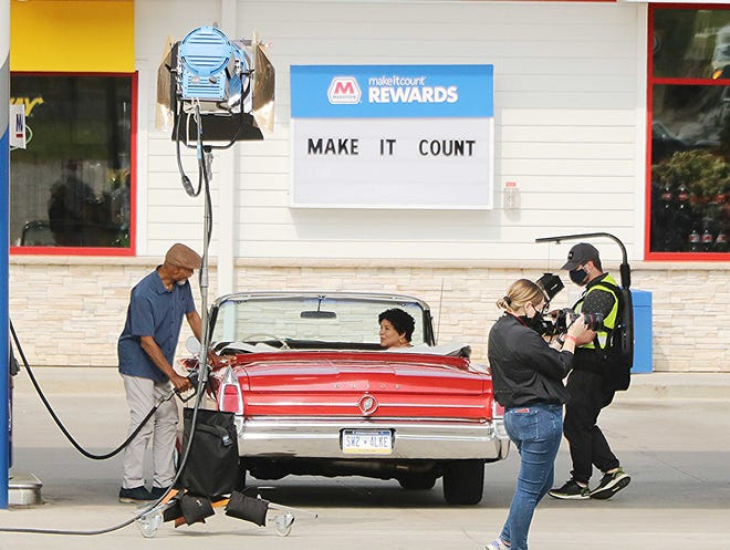 A film crew shoots video recently for a commercial for Marathon Gas Stations at the BellStore on State Route 60 just south of U.S. 30 near Hayesville. The crew also filmed some of the surrounding area and township roads in Ashland County. Ashland County Sheriff's Office assisted with traffic control when the crew started filming on the roads.