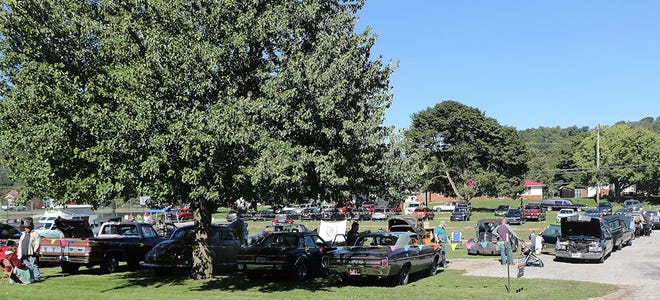 A hearse and hot rod show takes place recently at the old Perrysville School, which is now used as a haunted school house.
