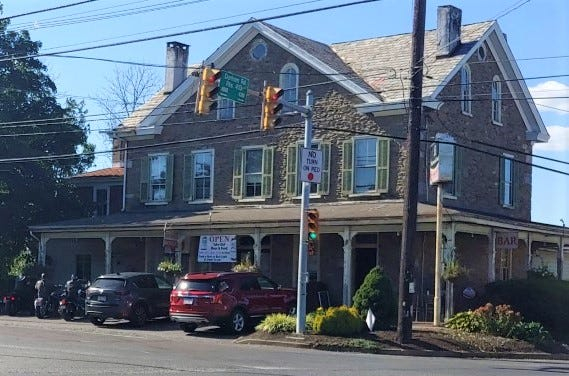 The Gardenville Hotel dominates the intersection of Route 413 and Point Pleasant Pike in Plumstead Township.