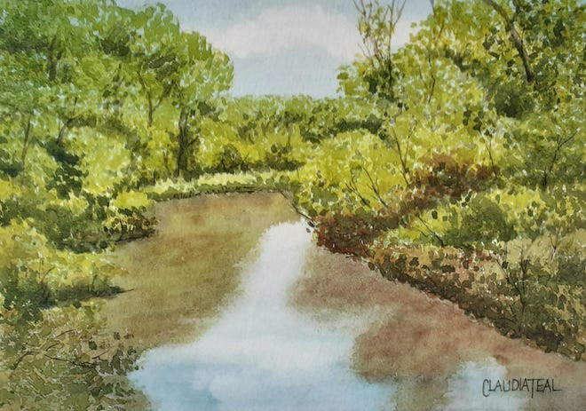 "A painting of Black's Creek in Bordentown, by local artist Claudia Teal. One of many paintings in the ""Visions of Bordentown"" art show."
