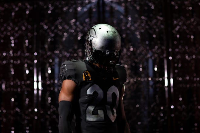 Pitt unveiled the new alternate dark gray uniforms it will wear for Saturday's game against Louisville. The uniforms are inspired by the city's history with the steel industry.